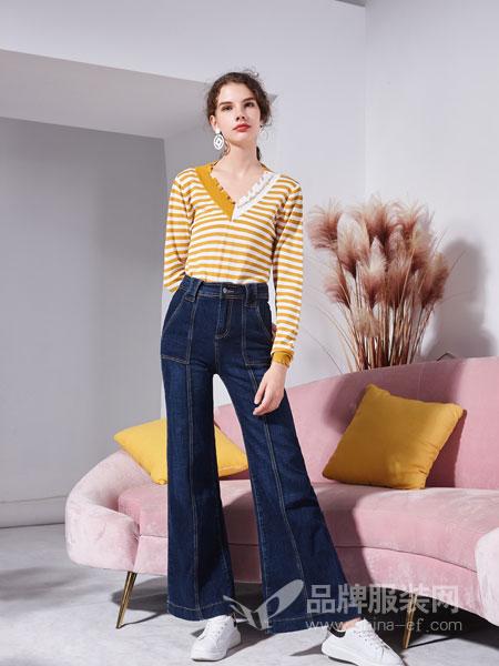 艾丽哲女装2018秋季新款韩版腰带显瘦时尚喇叭裤高腰拼接长裤