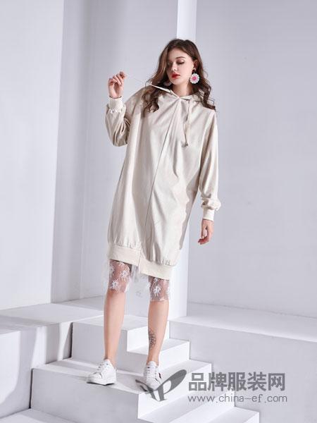 艾丽哲女装2018秋季宽松长袖连帽纯色百搭休闲韩版新款纯色