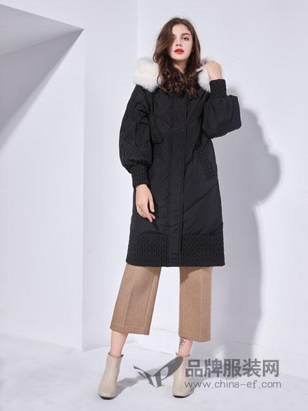艾丽哲女装2018秋季毛领中长款羽绒棉宽松服版棉衣装外套