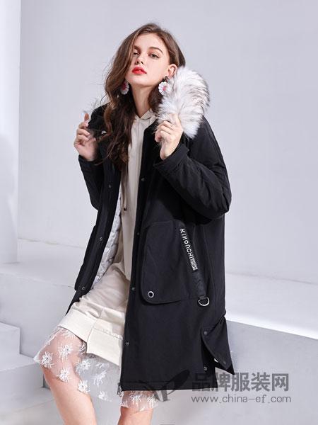 艾丽哲女装2018秋季修身韩版加厚连帽时尚休闲女外套