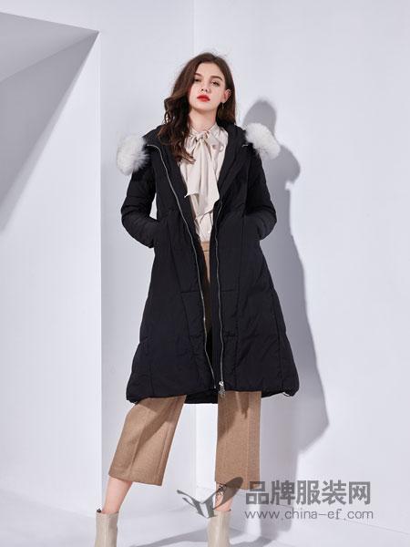 艾丽哲女装2018秋季韩版宽松中长款过膝羽绒服女白鸭绒潮