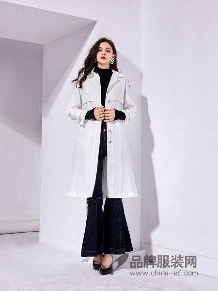 艾丽哲女装2018秋季风衣中长款白色宽松女装外套