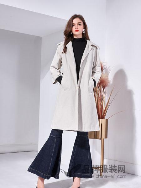 艾丽哲女装2018秋季中长款毛呢外套修身简约大衣