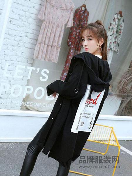 贝左女装2018秋冬中长款牛仔外套女黑色风衣外套连帽夹克