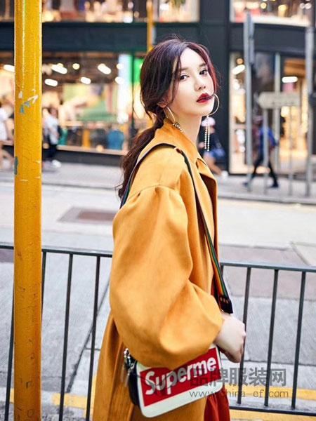 贝左女装2018秋冬外套灯笼袖麂皮显瘦长风衣潮