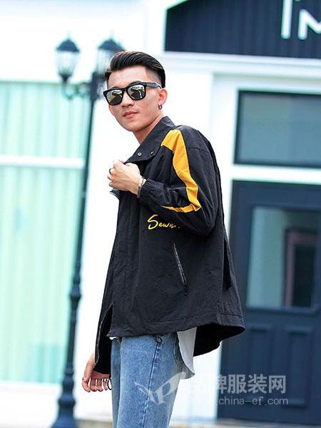 佐瀚男装2018秋季韩版潮流运动休闲黑色修身连帽青少年男装薄款