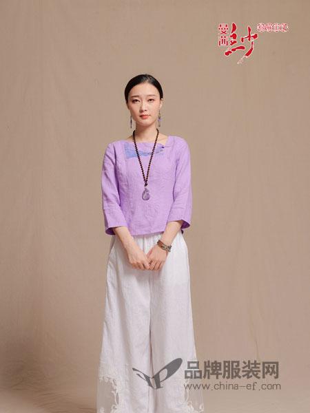 曼茜纱女装2018秋季宽松休闲显瘦粉紫色抽绳圆领套头T恤衫上衣