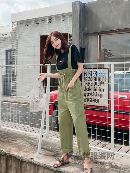 又米女装2018夏季韩版宽松高腰大口袋工装裤休闲花苞连体阔腿裤