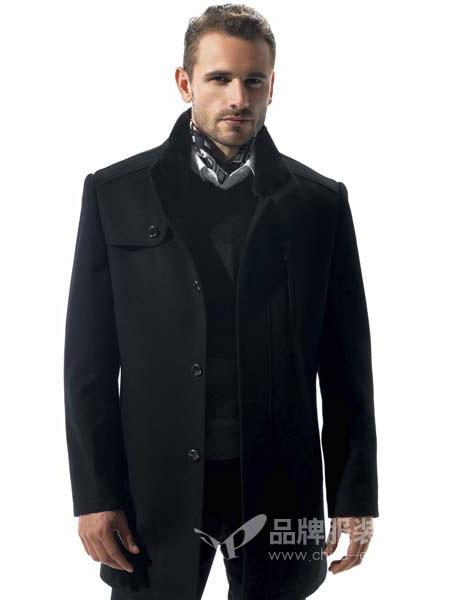 名鹰男装2018秋季男士翻领中长款黑毛呢大衣外套