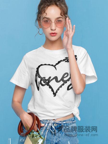 艾丽莎女装2018春夏T恤短袖圆领韩版简约时尚上衣