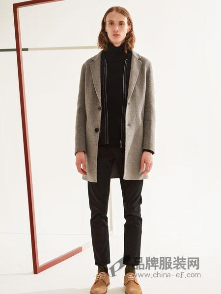 1943S男装2018秋冬新款青年修身翻领简约纯色大衣男中长款