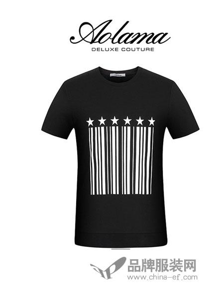 奥拉玛女装2018春夏圆领条码图案短袖T恤男体恤潮流上衣百搭