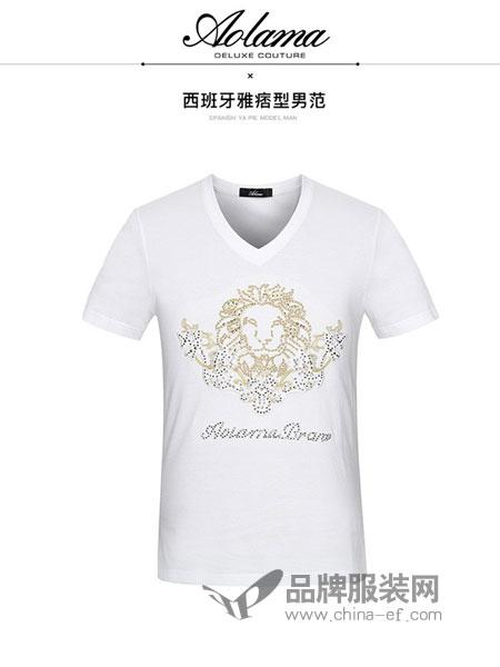 奥拉玛女装2018春夏时尚休闲男士V领短袖T恤
