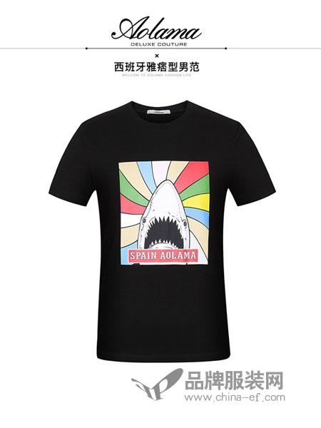 奥拉玛女装2018春夏圆领纯色卡通动物短袖T恤