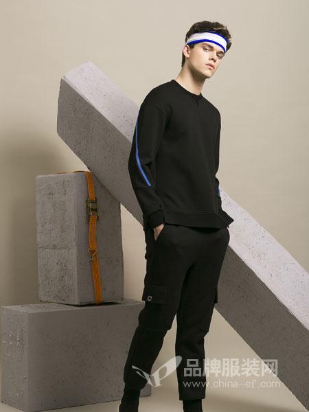 莎斯莱思男装2018秋季撞色设计圆领套头针织衫长袖毛衫