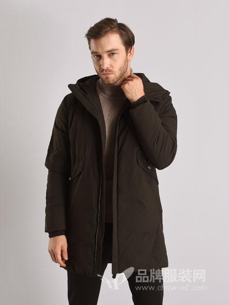 恩咖男装2018秋冬韩版连帽中长款男士防风加厚保暖外套