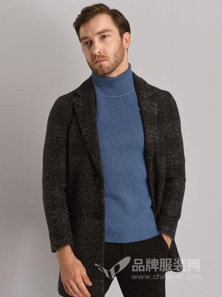 恩咖男装2018秋冬中长款羊毛呢商务时尚休闲外套