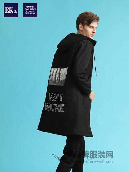 EKJK男装2018秋冬帅气青年韩版潮流个性印花外套