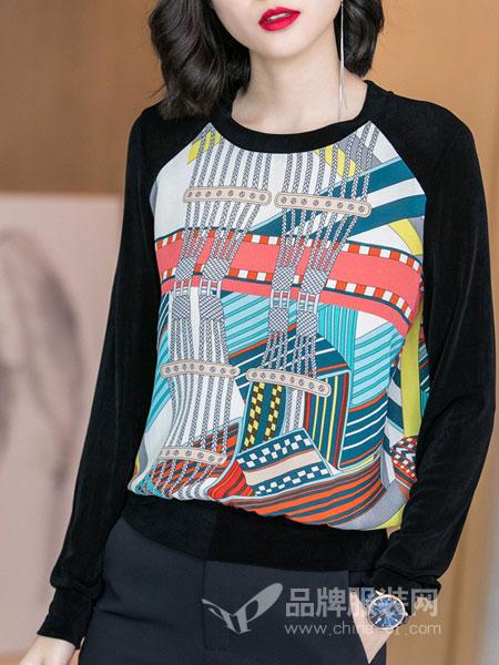 米思阳女装2018秋冬新款时尚真丝印花上衣气质黑色长袖针织衫T恤