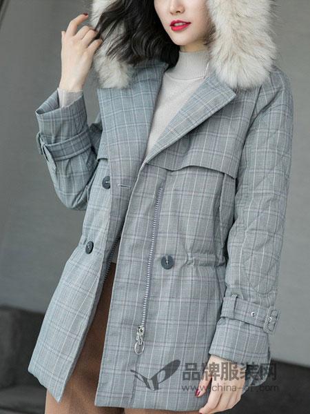 米思阳女装2018秋冬新款 宽松浅灰长袖格子翻领中长款外套