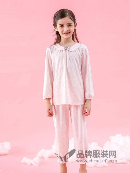 久岁伴内衣2018秋冬新款女童家居服套装长袖长裤睡衣两件套