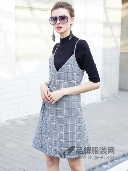 金蝶茜妮女装2018秋冬吊带两件套加厚复古套装连衣裙时尚潮