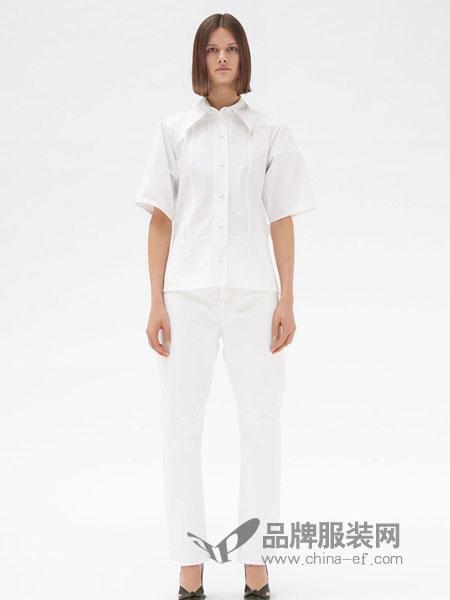 CELINE女装2018秋冬宽松纯色短袖衬衫欧美风时尚雪纺衬衣