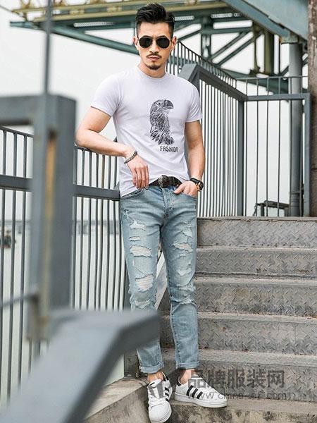 缤慕男装2018春夏纯色短袖V领透气修身T恤运动打底衫