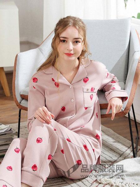 雅巧内衣2018秋冬纯棉开衫可外穿全棉长袖草莓居家服套装