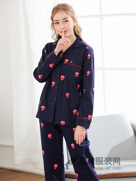雅巧内衣2018秋冬纯棉长袖家居服套装草莓睡衣甜美