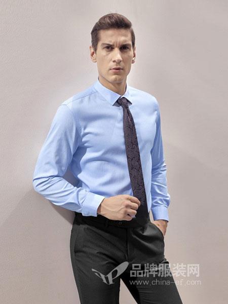 依文男装2018秋冬长袖 蓝色纯色商务正装长袖衬衫
