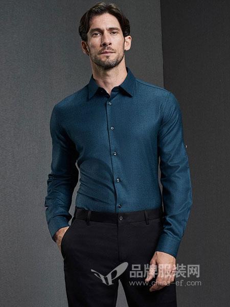 格罗尼雅男装2018秋冬男士长袖衬衫商务正装纯羊毛百搭衬衣爸爸装