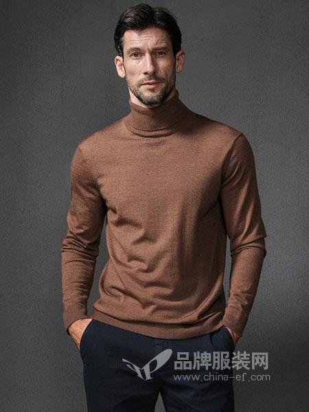 格罗尼雅男装2018秋冬长袖针织套头羊毛衫高领羊毛针织衫