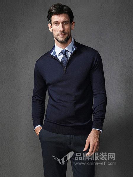 格罗尼雅男装2018秋冬长袖针织纯羊毛商务休闲立领保暖长袖毛衣