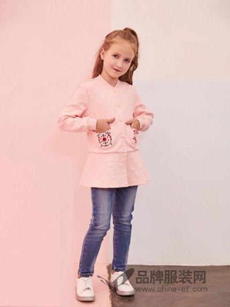 小猪班纳童装2018秋冬绣花中大童装加棉呢子外套