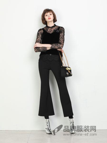 珈姿·莱尔女装2018秋冬新款纯色休闲微喇长裤