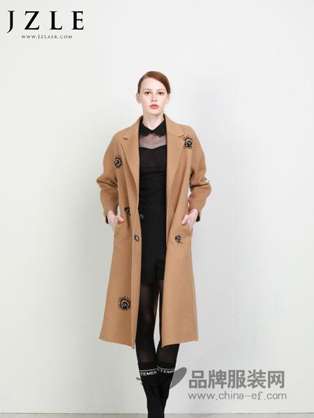 珈姿·莱尔女装2018秋冬新款双面羊毛呢中长款大衣欧美时尚潮立体装饰外套