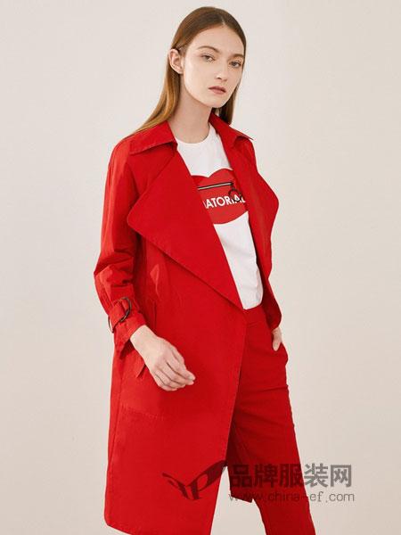 可可尼|COCOON女装2018秋冬时尚干练西装领长袖系带风衣外套