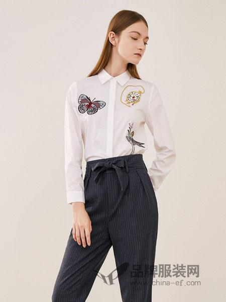可可尼|COCOON女装2018秋冬休闲大方长袖趣味蝴蝶绣花衬衫