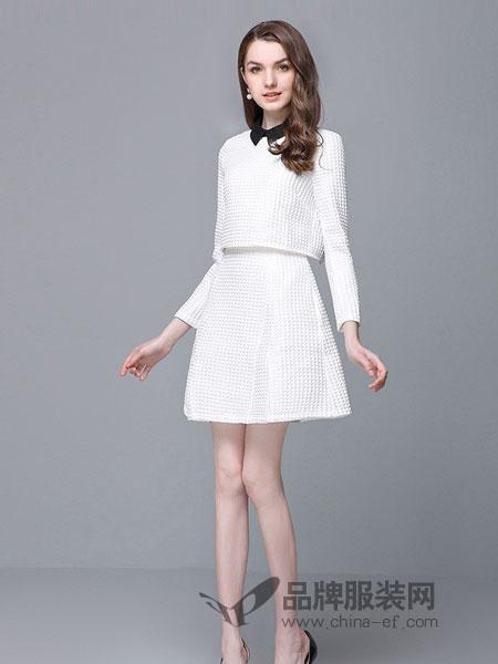ZIMMUR女装2018秋季纯白色衬衫领淑女学院风一步裙打底中款连衣裙