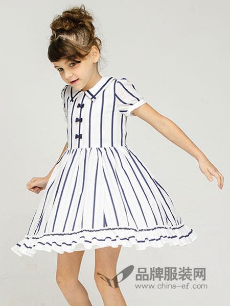 常春藤童装2018春夏女童休闲条纹短袖连衣裙儿童新款裙