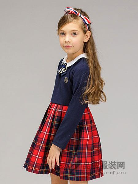 常春藤童装2018春夏女童长袖格纹连衣裙中大童新款拼接裙