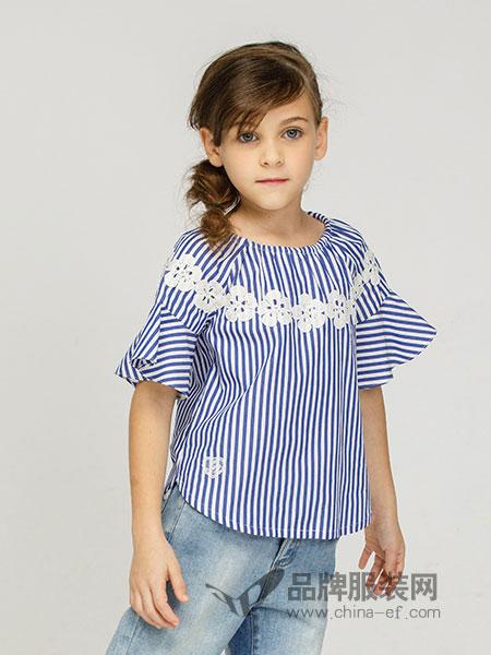 常春藤童装2018春夏女童花朵短袖衬衫 儿童新款英伦衬衣