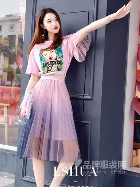 恋上花女装2018春夏新款时尚套装裙短袖中长款甜美两件套连衣裙百褶裙