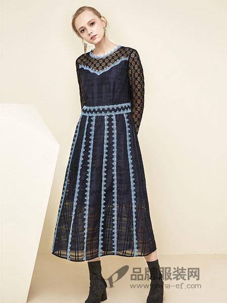 tanni女装2018秋冬新款深蓝色蕾丝拼接复古中长款连衣裙