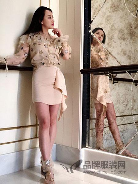 siran女装2018春夏荷叶边名媛小香风裙子三件套