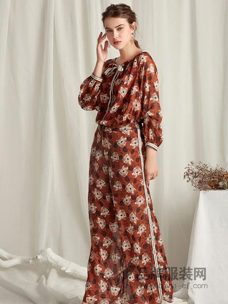 楚阁女装2018秋季新款韩版气质收到显瘦印花过膝裙