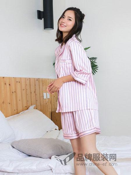 金薇内衣2018春夏开衫条纹仿真冰丝可外穿家居服套装