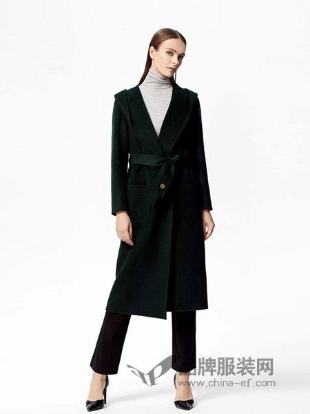 宝姿女装2018秋冬连帽系带大衣女中长款 毛呢外套双面呢