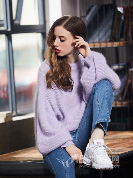 欧若朵尔女装2018秋冬圆领宽松中长款套头针织衫大毛衣